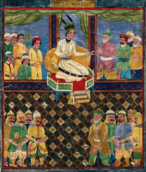 view The court of Khusrau Parvīz. Gouache painting by an Indian artist, ca. 1800.