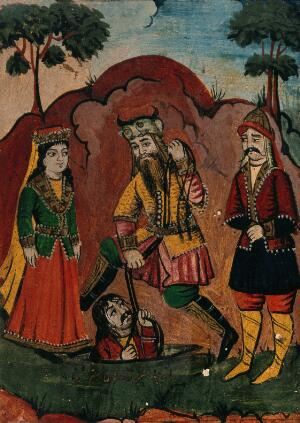 view Rustam rescues Bihzan from the pit, watched by Manizeh. Gouache painting by an Indian artist, ca. 1800.