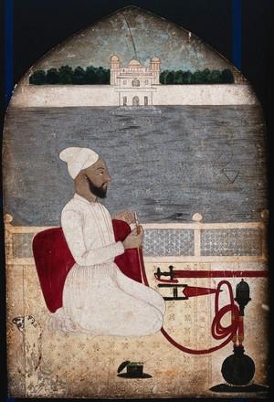 view A man smoking a hookah; a river beyond. Gouache painting.