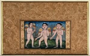 view Three peris (fairies). Gouache painting by a Persian artist, ca. 1700(?).