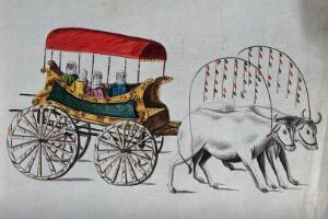 view Four Turkish women being carried in an ox-cart. Watercolour.