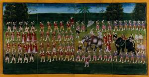 view Burma: a king passing in procession on an elephant, preceded by guardsmen and courtiers. Gouache painting.