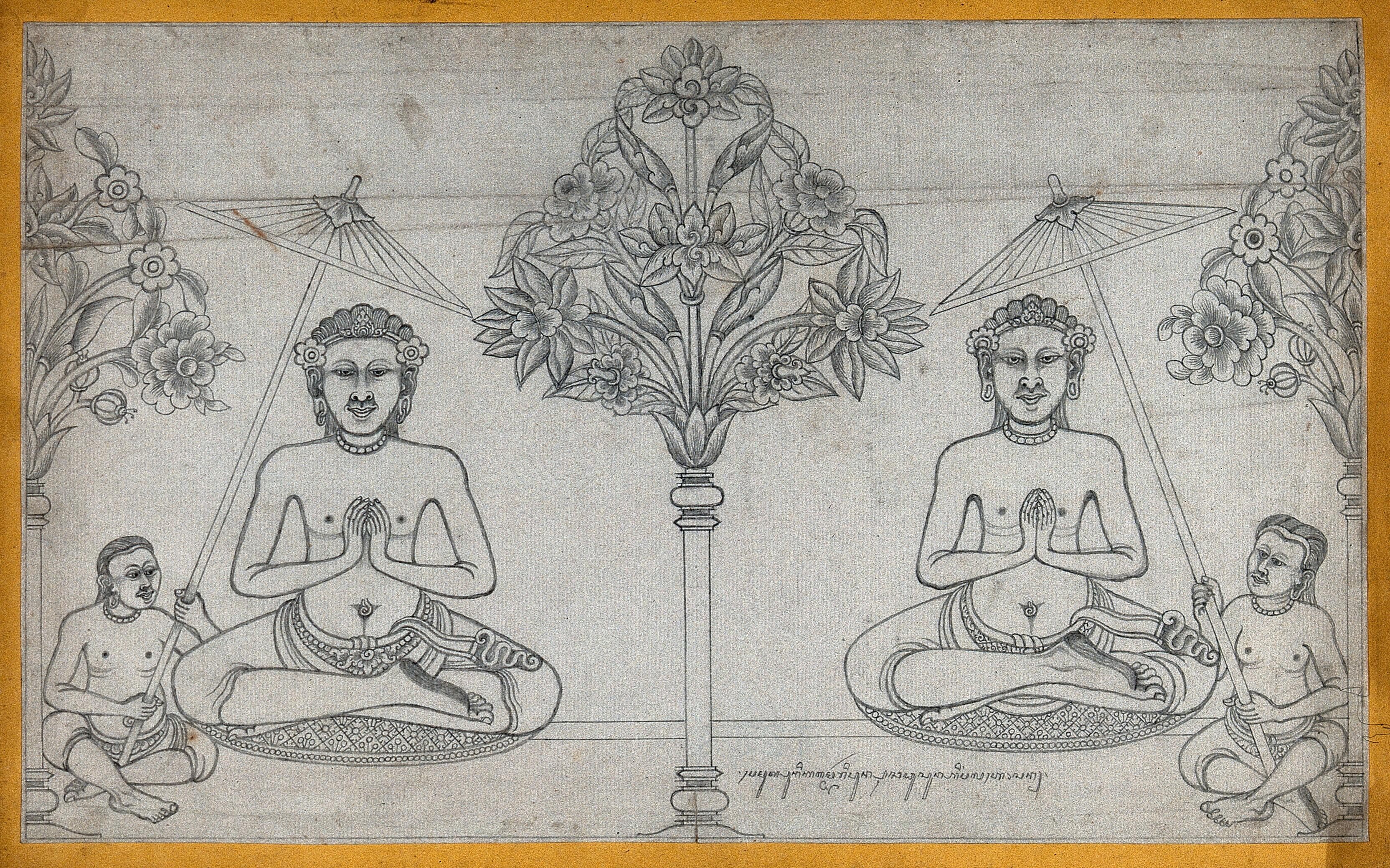 Temple Sculpture Two Seated Figures Divided By A Tree Pencil Drawing Wellcome Collection