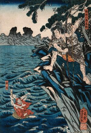 view Tametomo banishes the smallpox demon from the Island of Oshima. Colour woodcut by Yoshikazu, 1851/1853.
