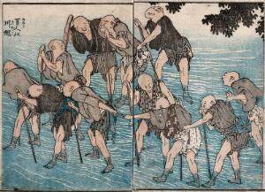 view Blind men fording a stream. Coloured woodcut by K. Hokusai, 1849 (?).