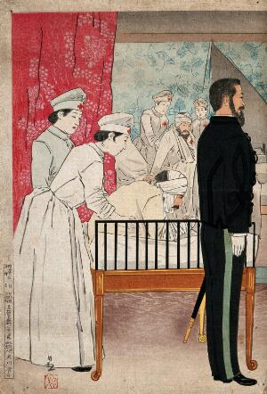 view Russo-Japanese War: Red Cross nurses attending war casualties in a Japanese hospital; right, a European (?) man in formal military dress is standing to attention and facing right. Coloured woodcut, ca. 1904.