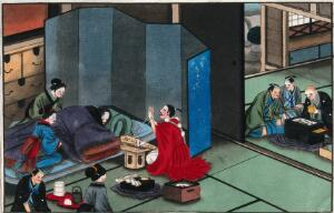 view Japanese funeral customs: a grieving family at the bedside of a dead man. Watercolour, ca. 1880 (?).