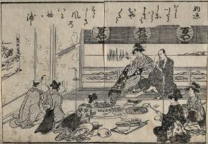 view A tea-house scene: evening cooling (noryo). Woodcut, 1815.