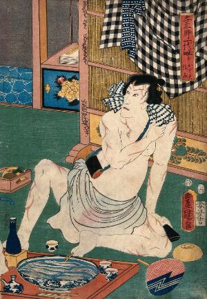 view Actor Ichikawa Kodanji (?) in a loin-cloth, his body covered with sword scars, is seated at a meal. Colour woodcut by Kunisada I, 1857.
