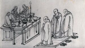 view Three Chinese Buddhist priests worshipping at a shrine. Ink drawing, China, 18--?