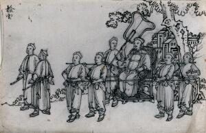 view A Chinese procession in honour of the god of spring: a Mandarin is shown being carried in a sedan chair. Ink drawing, China, 18--?