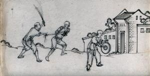 view A Chinese thief being flogged and forced to walk through the streets, while a man walks in front of him, hitting a gong. Ink drawing, China, 18--?