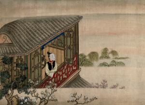 view A Chinese lady standing and looking from an open window towards trees in a misty landscape; forgeound, fruit-trees in blossom. Gouache.