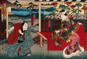 view A pair of actors at a chrysanthemum display. Colour woodcut by Munehiro, early 1860s.