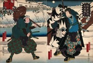 view Chushingura - an assault on Moronao's palace. Colour woodcut by Yoshitaki, early 1860s.