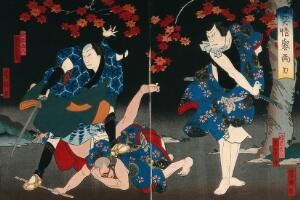 view Actors fighting under a red maple tree. Colour woodcut by Yoshitaki, early 1860s.