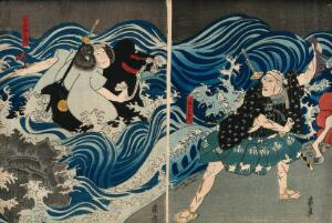 view Actors engaging in a fight on the sea-shore. Colour woodcut by Enjaku, early 1860s.