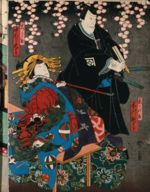 view Two actors as a man and a courtesan under a cherry blossom. Colour woodcut by Kunikazu, early 1860s.