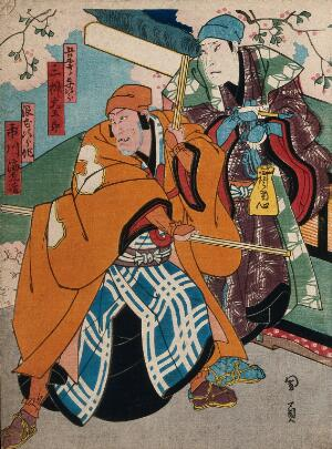 view Two men under a cherry blossom. Colour woodcut by Kunikazu, early 1860s.