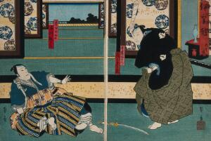 view Actors in a confrontation in a large chamber. Colour woodcut by Kunikazu, early 1860s.
