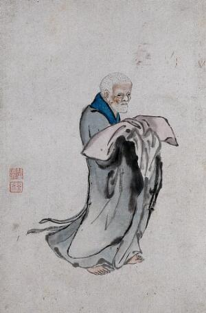 view A Chinese man in grey robes holding a pillow. Watercolour.