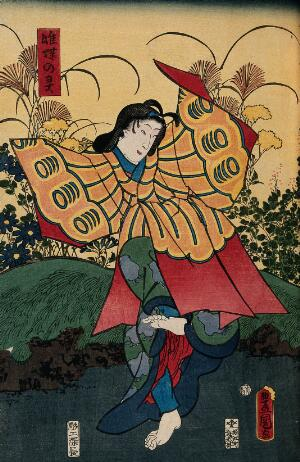 view A young female role actor performing a butterfly dance. Colour woodcut by Kunisada, 1860.
