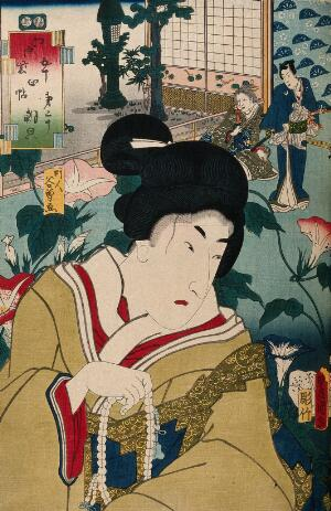view A female role actor with strong male features, holding prayer beads. Colour woodcut by Kunisada, 1852.