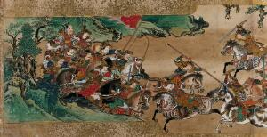 view A great battle between two armies. Painting by a Chinese artist, ca. 1850.