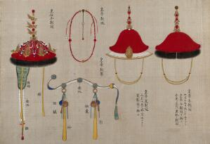 view Chinese hats and belts. Gouache painting.