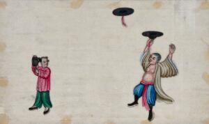 view A Chinese entertainer spinning hats in the air with the assistance of a young girl. Painting by a Chinese artist, ca. 1850.