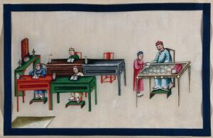 view A Chinese class room for infants. Painting by a Chinese artist, ca. 1850.