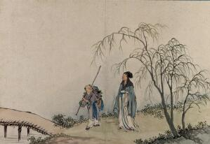 view A Chinese sage, in conversation with a traveller on the road. Gouache by a Chinese artist, ca. 1850.