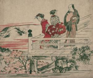 view Japan: two women and a man looking from a balcony at Kiyomizu Temple, Kyoto. Colour woodcut, ca. 1900.