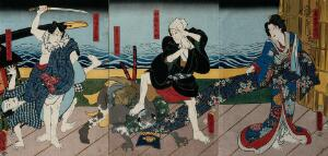 view Actors in a confrontation by a river from a contemporary drama. Colour woodcut by Kunisada II, 1857.