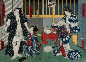 view Three actors in a scene from a contemporary drama. Colour woodcut by Kunisada II, 1857.