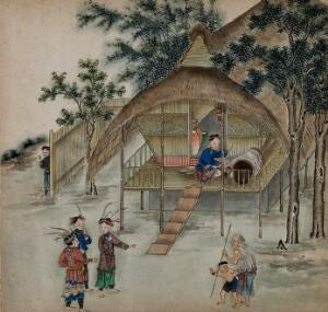 view Figures from Formosa wearing traditional rural attire have a conversation in front of a thatched bamboo cottage on stilts; one woman works a silk loom. Painting by a Taiwanese artist, ca. 1850.