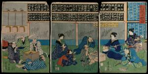 view A noted shamisen teacher playing to assembled pupils, some of whom follow with scores, while others relax on the floor. Colour woodcut triptych by Yoshitora, 1866.