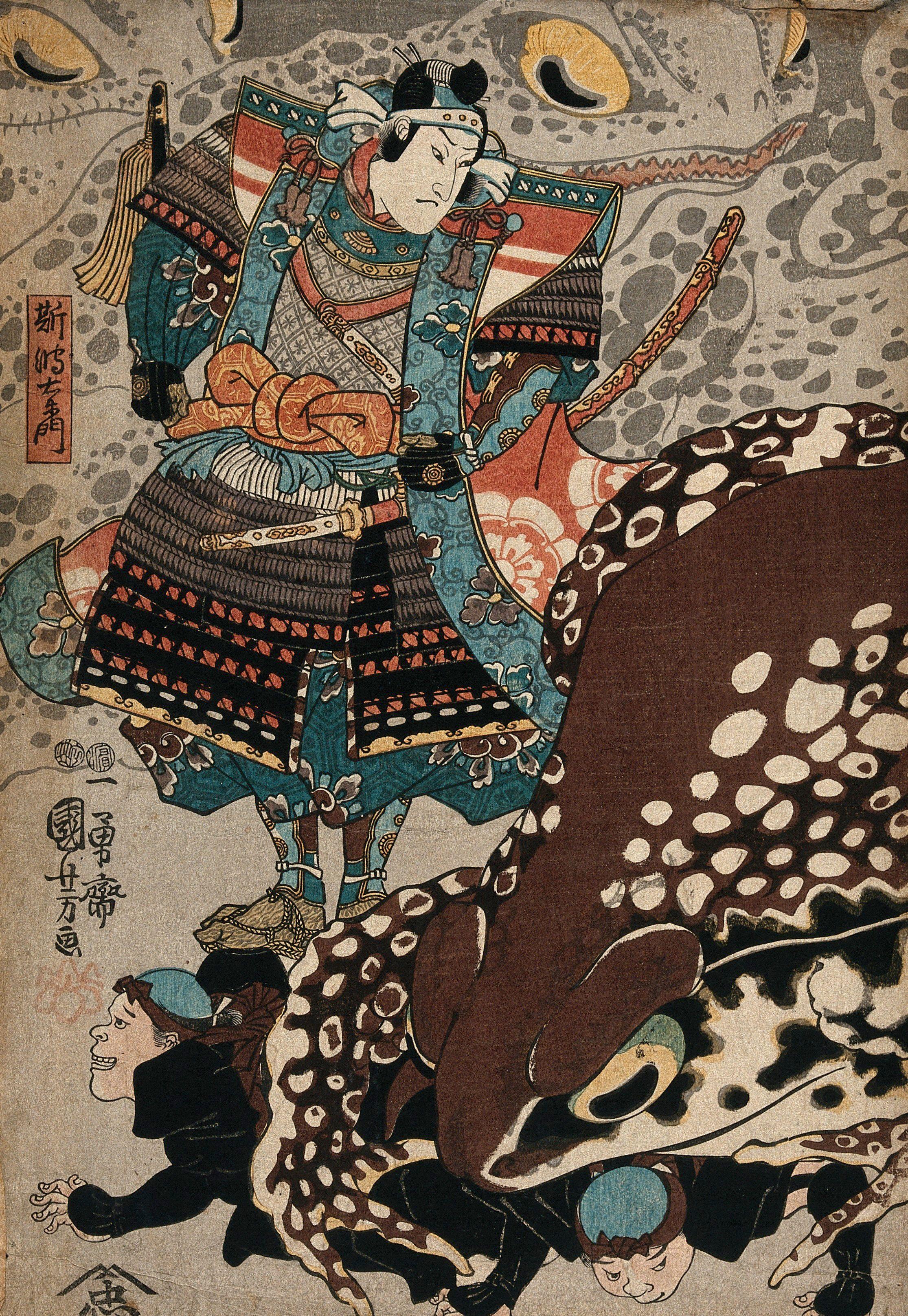 A Samurai Looks On As A Giant Frog Runs Over The Menials Colour Woodcut By Kuniyoshi 1847 1848 Wellcome Collection