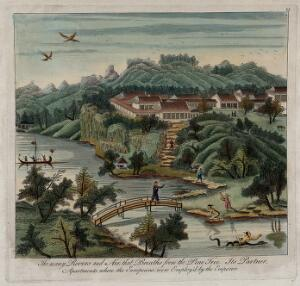 view A Chinese Imperial palace. Coloured engraving, 17--.