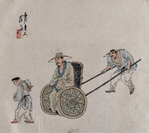view A figure is pushed in a wheelchair. A painting by a Chinese artist, ca. 1850.