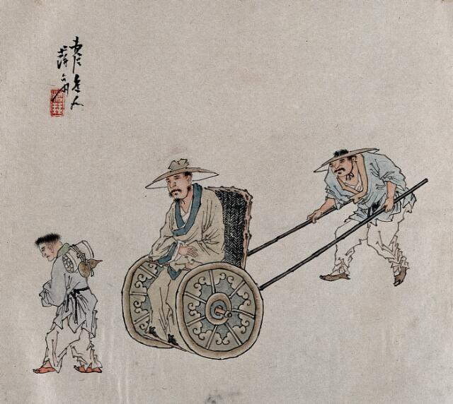 A figure is pushed in a wheelchair. A painting by a Chinese artist, ca. 1850.