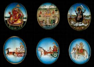 view Six circular gouache paintings of Hindu gods, 19th century
