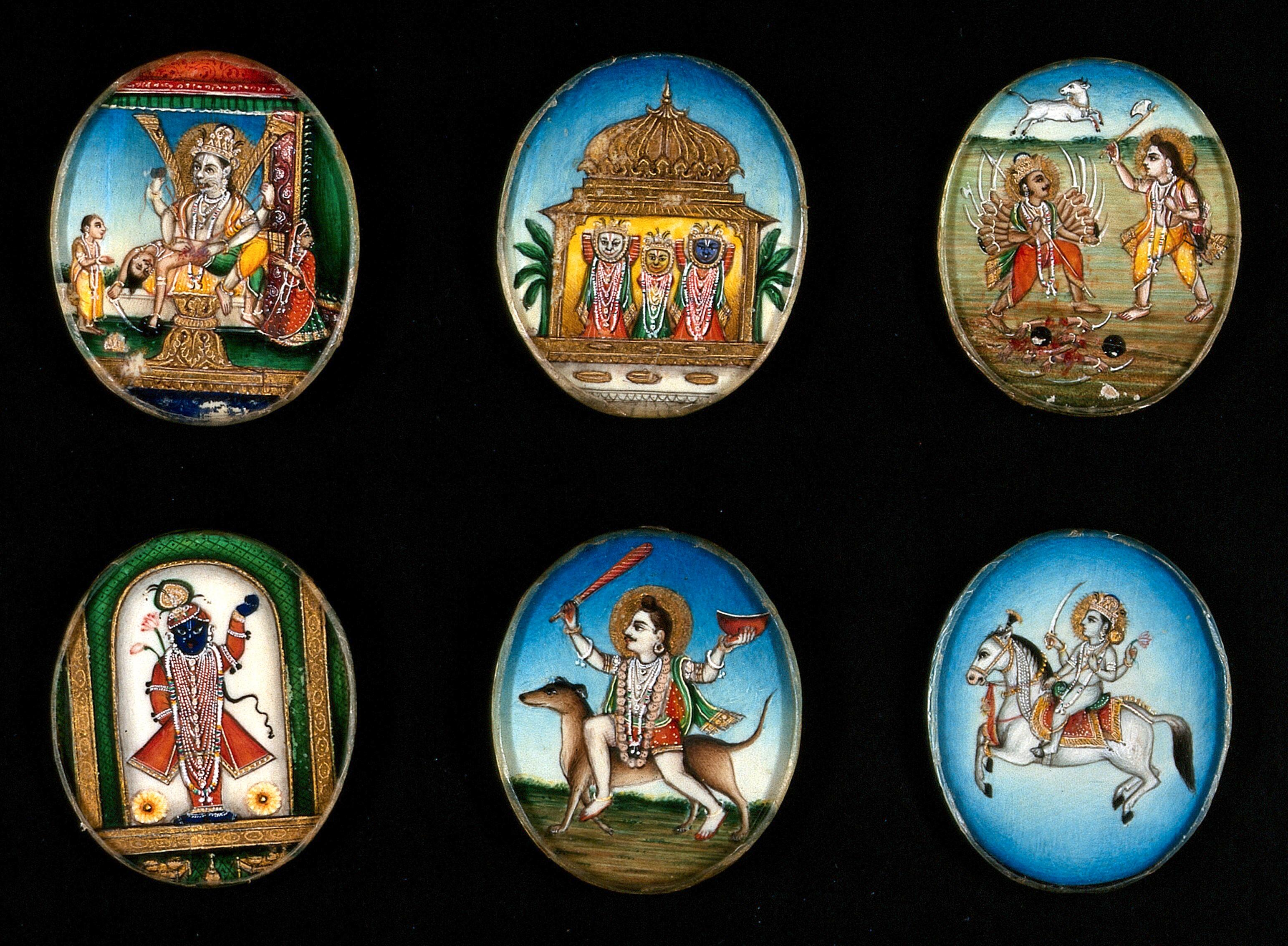 Image result for circular gouache hindu gods paintings