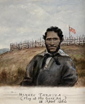 view Henare Taratoa: a chief of the Ngai Te Rangi tribe, in the heroic act of getting water for the British wounded at the battle of Gate Pa, a Maori victory in the Waikato War, 28 April 1864. Watercolour by H.G. Robley, 1864.