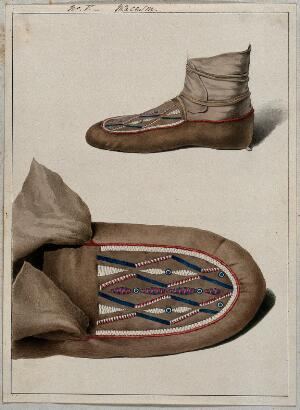 view Native North American costume: a moccasin, two figures. Watercolour attributed to Thomas Bateman.