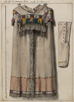 view Native North American costume: a woman's dress. Watercolour attributed to Thomas Bateman.
