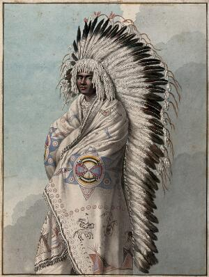 view Native North American costume: a man wearing a decorated robe and a feather headdress. Watercolour attributed to Thomas Bateman.