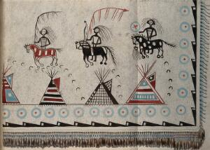 view Native North American costume: a decorated robe (detail). Watercolour attributed to Thomas Bateman.