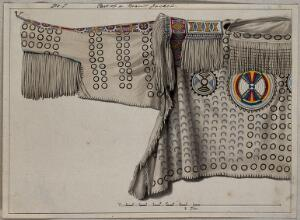 view Native North American costume: a man's jacket. Watercolour attributed to Thomas Bateman.
