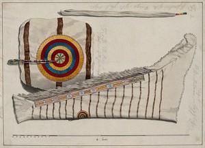 view Native North American costume: leggings. Watercolour attributed to Thomas Bateman.